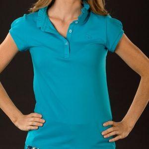 Sonja capsleeve turquoise ruffle polo